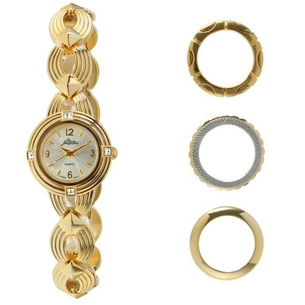 Pierre Jacquard Women's Goldtone Interchangable Bezel Watch
