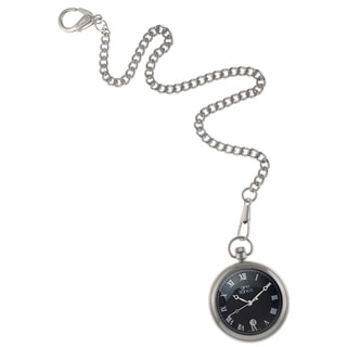 Gino Franco Men's Round Stainless Steel Black Dial Pocket Watch