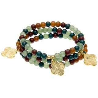 Jewel-tone Colored Bead Bracelets with Charm (Set of 3) (India)