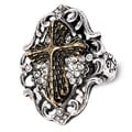 Two-tone Clear Crystal Antiqued Gothic Cross Ring
