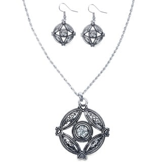 Silvertone Crystal Antiqued Heart Medallion Jewelry Set
