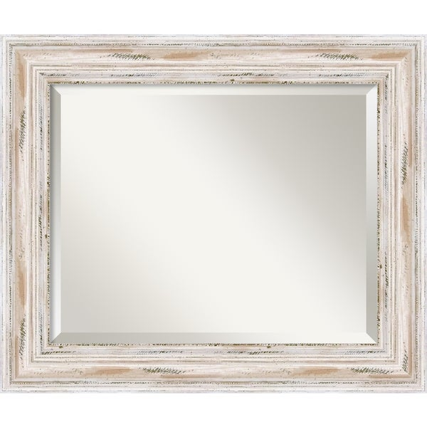 Medium Alexandria Whitewash Framed Mirror