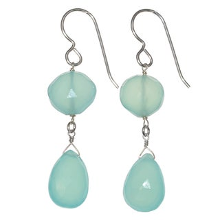 Ashanti Sterling Silver Aqua Blue Chalcedony Briolette Gemstone Dangle Handmade Earrings (Sri Lanka)