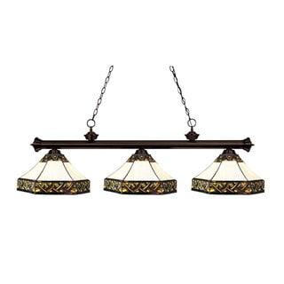Tiffany 3-light Bronze Billiard Fixture