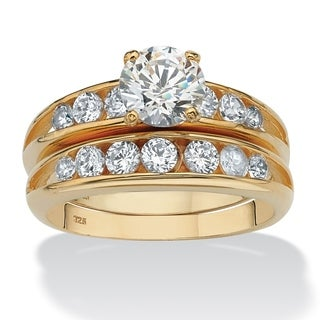 PalmBeach 2.55 TCW Round Cubic Zirconia Two-Piece Bridal Ring Set in 18k Gold over Sterling Silver Classic CZ