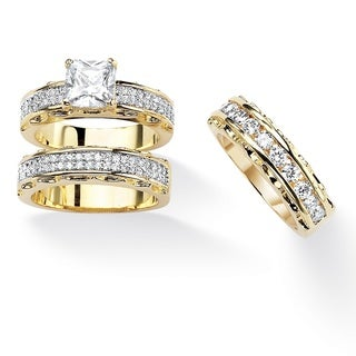 Ultimate CZ Gold Overlay Princess and Round CZ 3-piece Ring Set