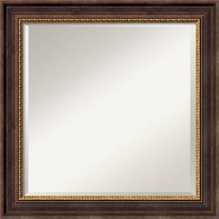 Veneto Distressed Black Framed Square Mirror