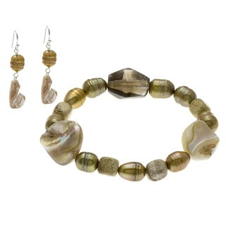 Pearl Stretch Bracelet and Earring Set