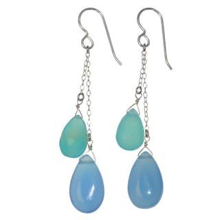 Ashanti Sterling Silver Blue Chalcedony Briolette Gemstone Dangle Handmade Earrings (Sri Lanka)