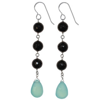 Ashanti Sterling Silver Aqua Blue Chalcedony and Black Spinel Gemstone Dangle Handmade Earrings (Sri Lanka)