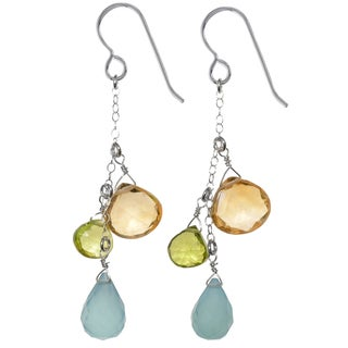 Ashanti Sterling Silver Aqua Chalcedony, Citrine and Peridot Briolette Gemstone Dangle Handmade Earrings (Sri Lanka)