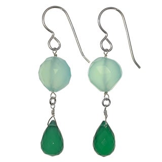 Ashanti Sterling Silver Emerald Chalcedony and Aqua Chalcedony Gemstone Dangle Handmade Earrings (Sri Lanka)