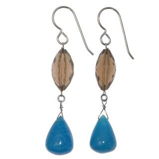Ashanti Sterling Silver Rare Hemimorphite Briolette and Smokey Quartz Dangle Handmade Earrings (Sri Lanka)