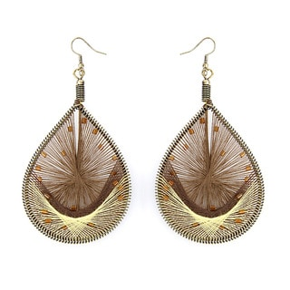 Orange Bead Yellow/ Brown Woven Thread Teardrop Earrings