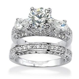 PalmBeach CZ Platinum over Silver White Cubic Zirconia 2-piece Bridal-style Ring Set Glam CZ