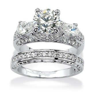 Ultimate CZ Platinum over Silver White Cubic Zirconia 2-piece Bridal-style Ring Set