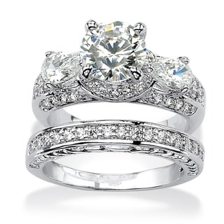PalmBeach CZ Platinum over Silver White Cubic Zirconia 2-piece Bridal-style Ring Set Glam CZ