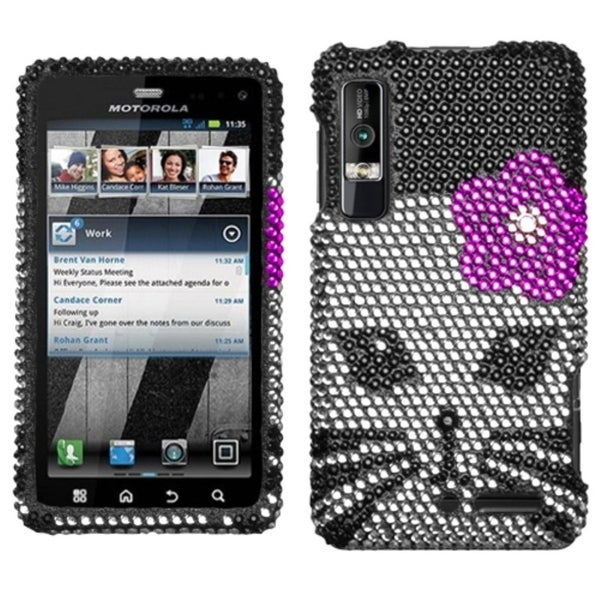 INSTEN Kitty Diamante Phone Case Cover for Motorola XT862 Droid 3