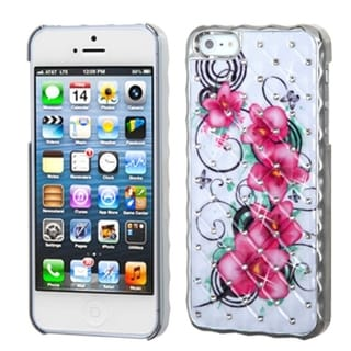 BasAcc White/ Silver/ Morning Petunias Diamond Case for Apple iPhone 5