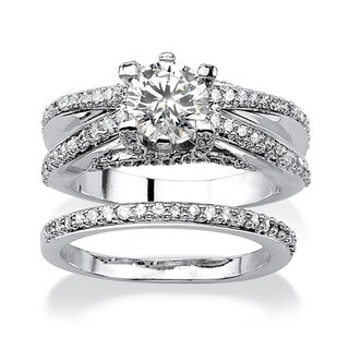 PalmBeach CZ Platinum over Silver Round-cut Cubic Zirconia Bridal-style Ring Set Glam CZ