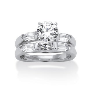 Ultimate CZ Platinum over Silver CZ Squared Wedding-style Ring Set