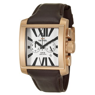 TW Steel Men's 'CEO Goliath' Rose-gold PVD-coated Watch with Brown Leather Strap