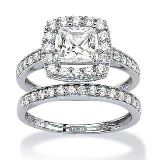 Ultimate CZ Platinum over Silver Cubic Zirconia Ring Set