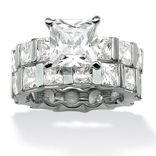 Ultimate CZ Platinum Princess-cut Cubic Zirconia Wedding-style Ring Set