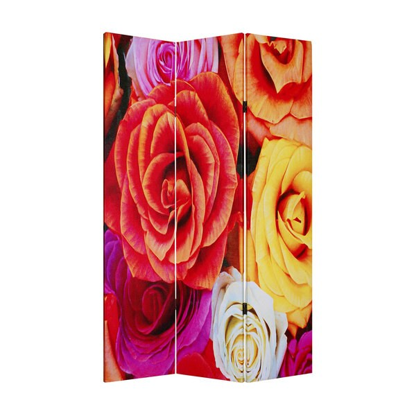 Daisy and Rose 3-panel Canvas Screen