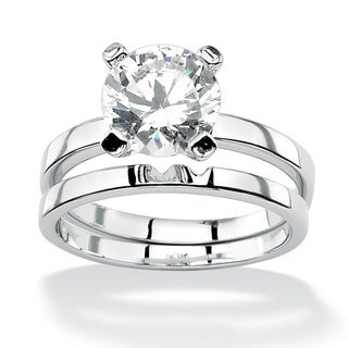 Ultimate CZ Sterling Silver Round Cubic Zirconia Solitaire Ring Set