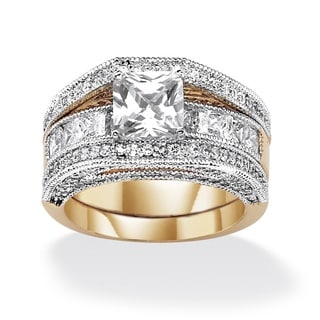 PalmBeach CZ Gold Overlay Princess and Round CZ Wedding-style Ring Set Glam CZ