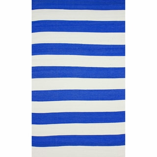 nuLOOM Flatweave Indoor/ Outdoor Reversible Thick Striped Blue Rug (5' x 8')