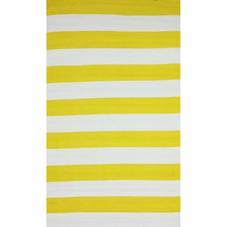 nuLOOM Flatweave Indoor/ Outdoor Reversible Thick Striped Yellow Rug (5' x 8')