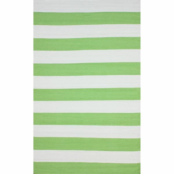 nuLOOM Flatweave Indoor/ Outdoor Reversible Thick Striped Green Rug (5' x 8')