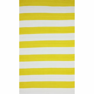 nuLOOM Flatweave Indoor/ Outdoor Reversible Thick Striped Yellow Rug (8' x 10')