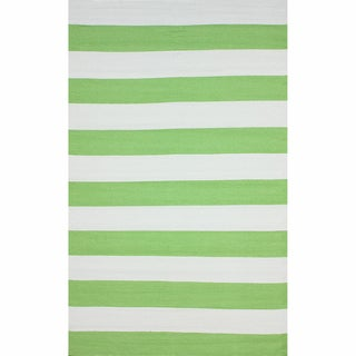 nuLOOM Flatweave Indoor/ Outdoor Reversible Thick Striped Green Rug (8' x 10')