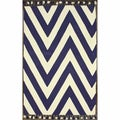 nuLOOM Flatweave Cotton Chevron Navy Rug 4' x 6')