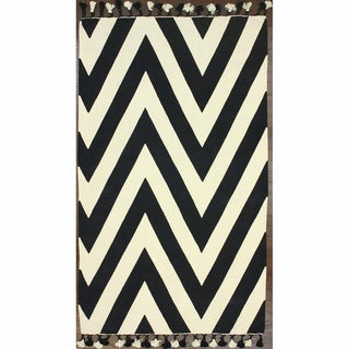 nuLOOM Flatweave Cotton Chevron Black (4' x 6')