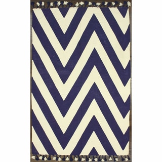 nuLOOM Flatweave Cotton Chevron Navy Rug (7' 6 x 9' 6)