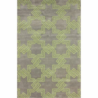 nuLOOM Handmade Modern Star Trellis Grey Rug (7'6 x 9'6)