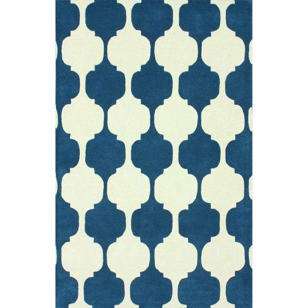 nuLOOM Handmade Modern Chess Trellis Blue Rug (3' x 5')