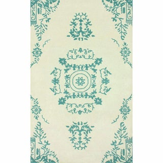 nuLOOM Handmade Traditional Open Field Vintage Teal Rug (5' x 8')