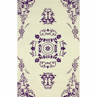 nuLOOM Handmade Traditional Open Field Vintage Purple Rug (5' x 8')