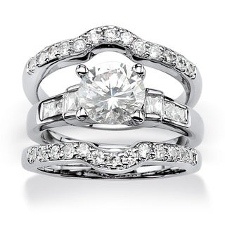 PalmBeach 2.95 TCW Round Cubic Zirconia Platinum over Sterling Silver 3-Piece Bridal Engagement Ring Set Glam CZ