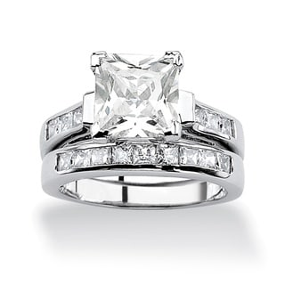 Ultimate CZ Platinum over Silver Princess Cubic Zirconia Ring Set