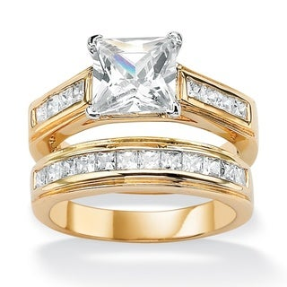 Ultimate CZ Gold Overlay Princess-cut CZ Wedding-style Ring Set