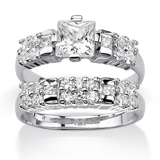 Ultimate CZ Platinum over Silver Cubic Zirconia Bridal-style Ring Set