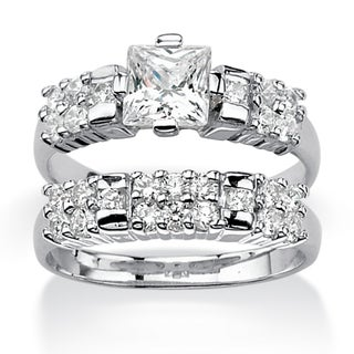 PalmBeach CZ Platinum over Silver Cubic Zirconia Bridal-style Ring Set Classic CZ