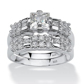 PalmBeach 2.06 TCW Princess-Cut Cubic Zirconia Platinum over Sterling Silver Bridal Engagement Ring Set Classic CZ