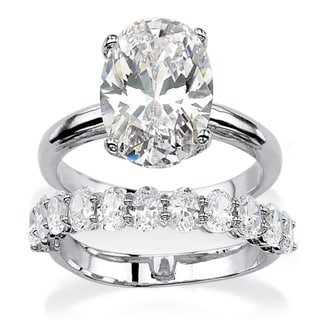 Ultimate CZ Platinum over Silver Oval-cut Cubic Zirconia Bridal-style Ring Set
